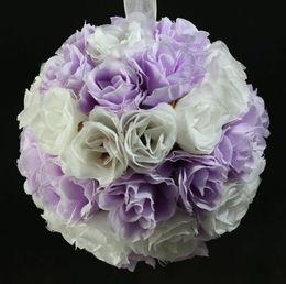 "Wholesale Kissing Balls Wholesale - Hot ! 5"" Light Purple White Rose Flower Kissing Ball Wedding Flowers Decoration (02)"