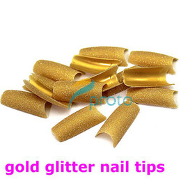 pre design tips UK - FREESHIPPING--6 colors assorted Glitter Nail Tips pre design Acrylic False Nail Art Tips Retails SKU:XA0051