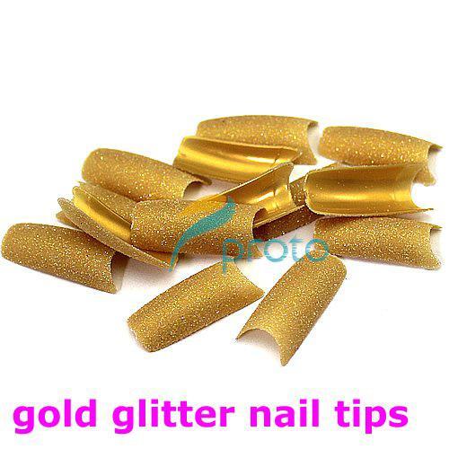 FREESHIPPING--6 colors assorted Glitter Nail Tips pre design Acrylic False Nail Art Tips Retails SKU:XA0051