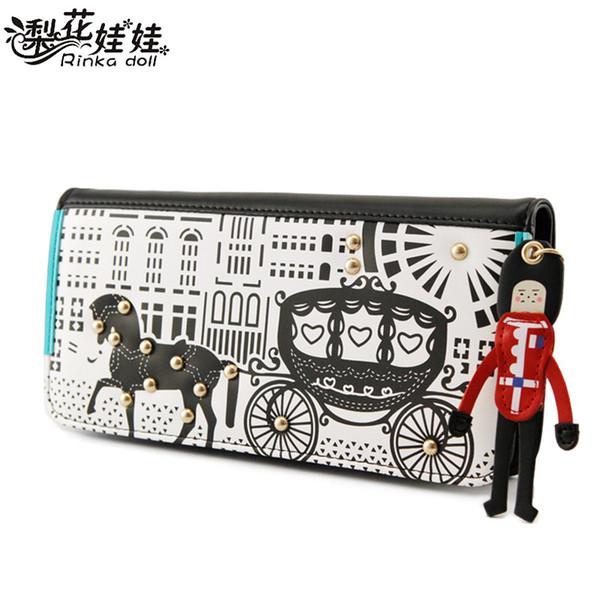 Pera muñeca versión coreana original de la nueva billetera femenina encantadora carro original Sra. Long billetera billetera de mujer