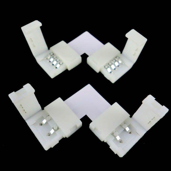Conector L PIN de 10 x 5050 RGB 4PIN a 4 PIN con tira de 10mm LED sin soldadura