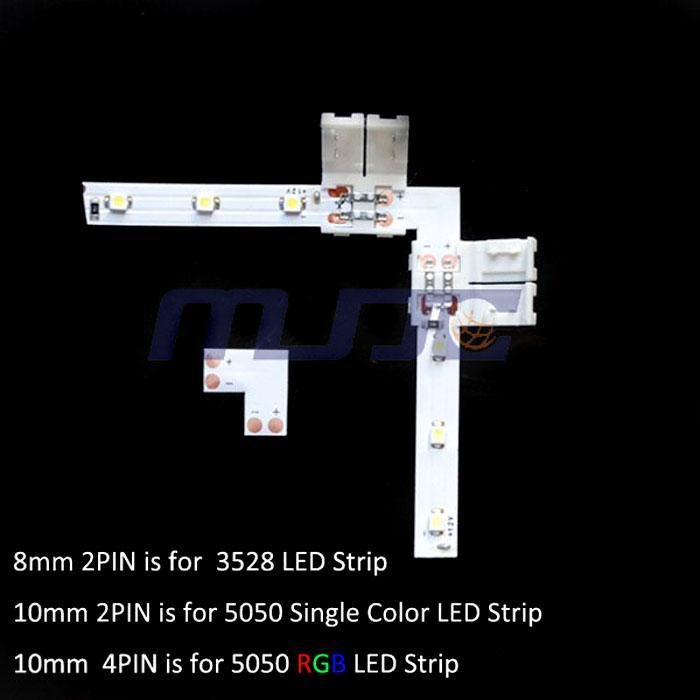 8mm / 10mm L forma 2PIN conector para un solo color 3528 5050 Led Strip sin soldadura