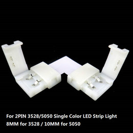 Wholesale 2pin Strip Connector - 15sets 8mm 10mm L Shape 2PIN Connector For Single Color 3528 5050 Led Strip No Soldering