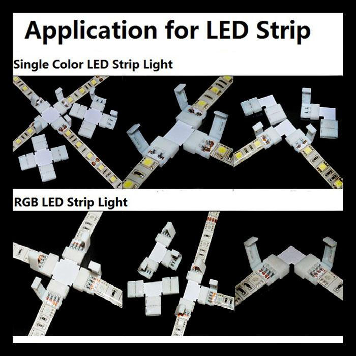10 x 5050 RGB 4ピンから4ピンコネクタLの形状のクリップ10mm LEDストリップはんだ付け