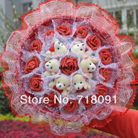 Wholesale Teddy Bear Rose Bouquet - Free Shipping Plush Teddy Bear With PE Rose Flower Bouquet For Valentine's Day And Wedding Gifts,30x30cm,1pc