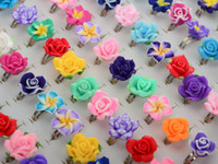 Wholesale Kids Gift Bulk - NEW Fashion Whosale Lots Bulk 100pcs Mixed Polymer Clay Flower Rings Children Kids Gift Free Shipping[JR12010*100]