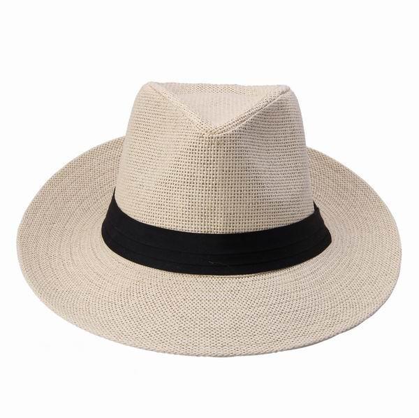 New Wide Brim Hats Unisex Light Brown Men Women Cap Popular Solid ... 8434f3c28