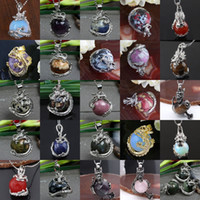 Wholesale Opal Inlay Necklace - 20pcs Mixed Style Dragon Wrap Inlaid Ball Agate Jade Gems Charm Pendant Bead For Necklace