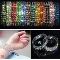 Wholesale Stretchy Bling Bracelets - Brand New 2 Rows Crystal Rhinestone Wedding Bridal Stretchy Bangle Bracelet Bling Jewelry Free Shipping[B414*24]