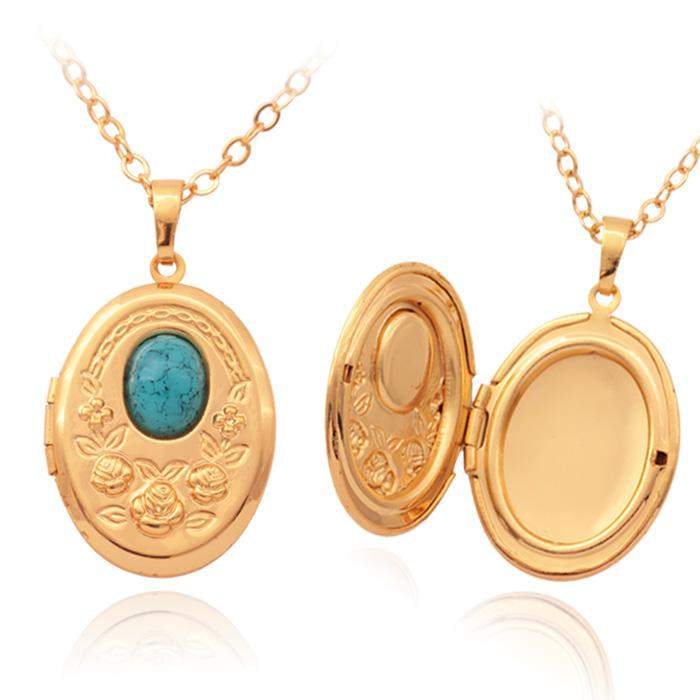 Vintage oval turquoise photo locket pendants 18k gold plated choker vintage oval turquoise photo locket pendants 18k gold plated choker necklace charms floating lockets jewelry wholesale mgc p214 pendant necklaces turquoise aloadofball