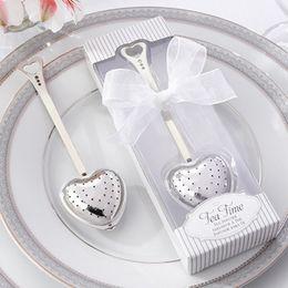 Wholesale Tea Strainer Wedding Favors - Romantic Love Heart Steel Teabag Strainer MINI Tea Filter Infusers Wedding Favors 10pcs lot SH410