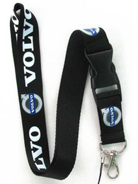 Discount neck lanyard logo - New 20 Pcs Black Volvo Car Logo Neck Lanyard with Clip Key ID phone Chain *FREE SHIPPING*