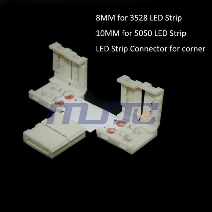 8mm 3528 / 10mm 5050 LEDストリップライト用10 xストリップTシェイプのはんだのないコネクタ
