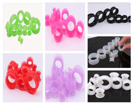 Wholesale Expander Flesh Tunnel - Flesh tunnel 100pcs lot mix 7 color top selling body jewelry silicone ear expander plug flesh tunnel gauge