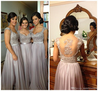 Wholesale cheapest bridesmaids dresses - 2015 New Arrival Real Model Cap Sleeves Beaded Cheapest Bridesmaid Dress A-line Floor Length Chiffon Evening Dress Formal Girls Dress ML24