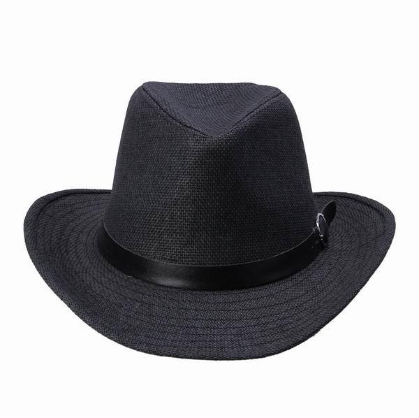 Moda Yetişkin Unisex Hasır Şapka Cimri Ağız Caz Şapka Fedora Kapaklar Kemer Dekoratif Yaz Plaj Güneş Kapaklar DUO * 1