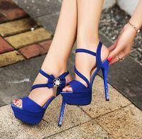 Wholesale Wedding Shoes Taiwan - 14cm blue wedding shoes flower buckles waterproof taiwan high heel shoes party evening shoes bridal wedding shoes yzs168