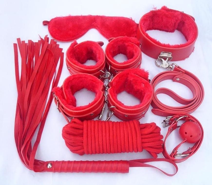 Bondage set 7 kits for foreplay sex games red fur handcuffs blindfold handcuffs ankle cuff blindfold collar leather whip ball gag rope BDSM