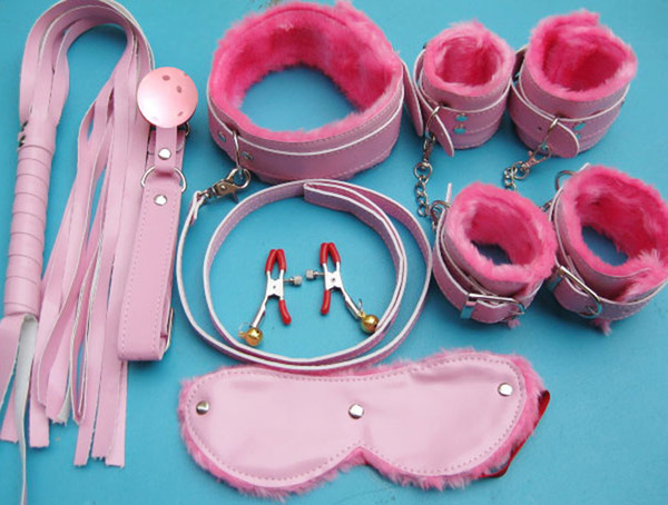 wistiti Bondage set 7 in 1 kits for foreplay sex games fur handcuffs eyeshade ankle cuff collar leather whip ball gag BDSM 0056