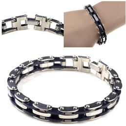 "Wholesale Mens Black Stainless Steel Chain - 1pc Black Rubber Silver Chain Link Mens Stainless Steel Bracelet Bangle 8.5"" Jewelry Free Ship"