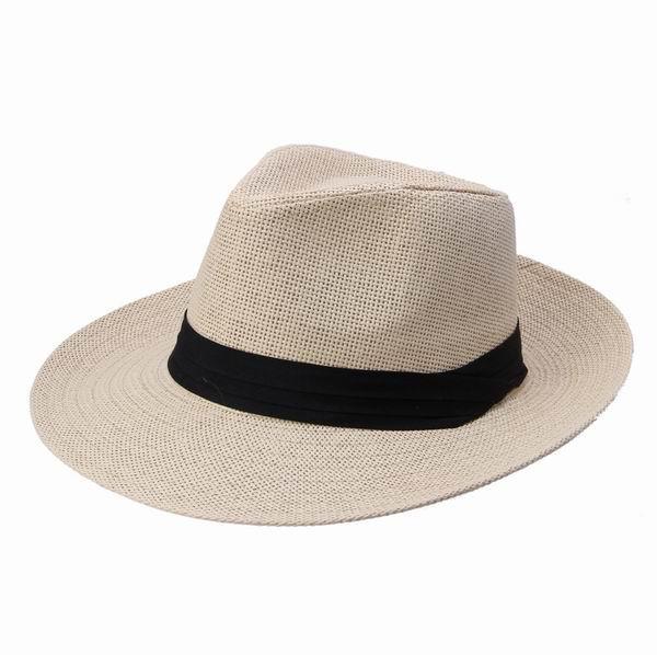 男性女性わらワイドブリム帽子ジャズキャップベルト装飾夏のビーチ帽子サンフェデオラキャップDUP * 1