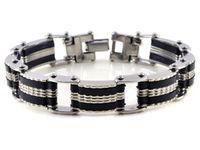 Wholesale Bracelets Men Rubber Stainless Steel - 1PC Hot Sell Stainless Steel Silver Tone Rubber Mens Link Bracelet Imixlot Bracelets Women Men Jewelry [B311*1] h5