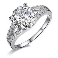 14k ct gold großhandel-Großhandel 2 ct Excellent Cut Hochzeitstag Verlobung Silber SONA synthetischen Diamant-Ring für Frauen Weißgold 14k vergoldet