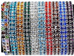 Wholesale Wholesale Acrylic Rhinestone Bangle Bracelets - New Lady Stretchy Bangle Bracelet Mix Color 24X Crystal Rhinestone Imixlot Bracelets [B414M*24]