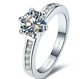 Configuración de montaje de diamante semi online-1.0ct Anillo de diamante sintético clásico para las mujeres anillo de compromiso semi montaje anillo ajuste plata de ley chapado en oro blanco de la boda