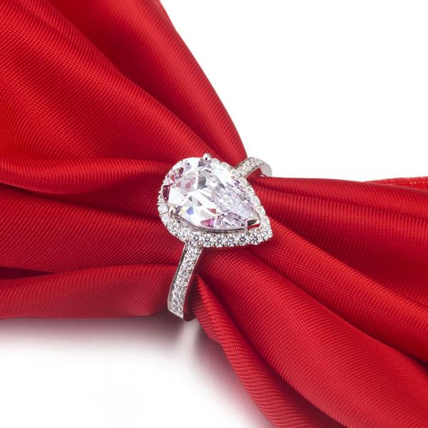 Super Acheter 3ct Poire Rose Rose Sona Bague En Diamant Synthétique Pour  RB74