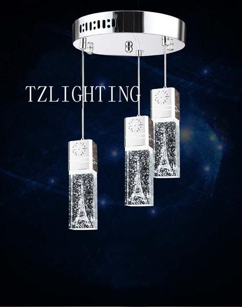K9 Crystal Pendent Lamp Bubble Crystal Chandelier Light Modern Simple Aluminium Living Room Ceiling Lamp