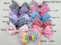 Wholesale Chevron Hair Bows Wholesale - 3inch chevron hair bows,baby girls ribbon hair bow Without Clip, children hair accessories 50pcs lot free shipping