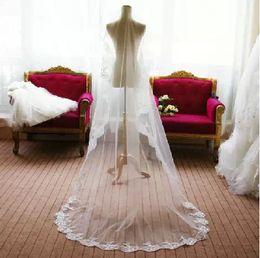Wholesale Ivory Veils Long Lace - Hot Sale Free Shipping Wedding Veils Hot Sale One Layer Lace Edge Long Fashion Bridal Veils