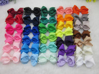Wholesale Ribbon For Hair Accessories - 32colors 3inch grosgrain ribbon hair bows WITH Clip,baby hairbow,Boutique bow for Children hair accessories,32pcs lot
