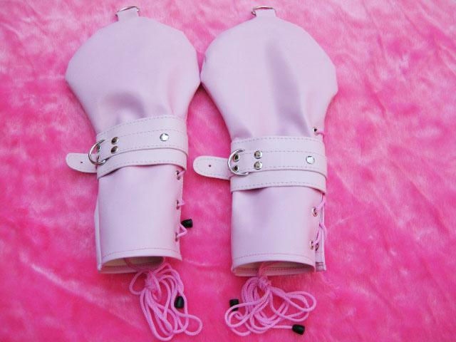 Female Sex Slave PU Dog Palm Glove Hand Wear SM Bondage Sex Toy Adult Product Pink & black