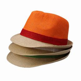 Wholesale Candy Color Hat - Trendy Candy Color Straw Hats Men Women Colorful Casual Stingy Brim Hats Summer Beach Sun Caps DUU*1