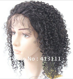 Wholesale Baby Curl Remy - Oxette free shipping Short Afro curly full lace wig glueless Indian remy lace wigs front kinky curl virgin human baby hair bleached knots