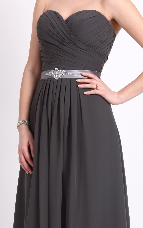 Enkel design en linje älskling strand brudtärna klänningar golv längd grå chiffong rabatt kväll klänningar långa brudtärna klänningar