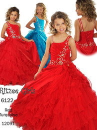 Wholesale Girls Taffeta White Dress - Girls Pageant Dresses, pageant dresses and ball gown Spaghetti Straps Ruched Organza And Taffeta Red Flower Girl Dress