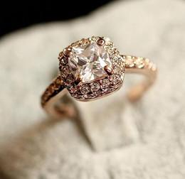 Wholesale Diamond Ring Gp - 2014 factory price New fashion Gold Plated Use Swarovski 18K GP Emulational Diamond Ring wedding ring Lovers Gift
