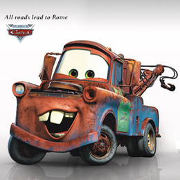 Wholesale Giant Removable Wall Stickers - Cartoon Cars Mater Giant Wall Stickers for Boys Kids Baby Rooms Movie Decorative Wall Decals Comic Home Decoration Wall Art