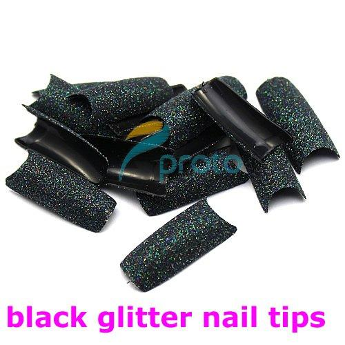 FREESHIPPING--6 colors assorted Glitter Nail Tips pre design Acrylic False Nail Art Tips Retails