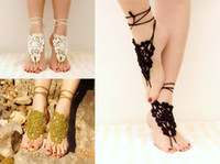 Wholesale Crochet Steampunk - 6%off!5pairs 10pcs.Black barefoot sandals, nude shoes, crochet foot jewelry, gothic, victorian, lace, sexy, yoga, steampunk, beach pool