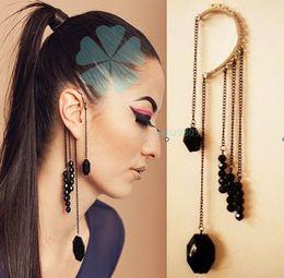 Wholesale Black Tassel Gemstone - European And American Big Retro Design Without Exaggeration Black Beaded Gemstone Earrings Pierced Earrings Tassel Ear Hook B105