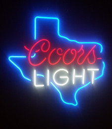Wholesale Coors Neon Signs - COORS LIGHT TEXAS BEER REAL GLASS NEON BAR PUB GAMEROOM LIGHT SIGN