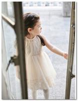 ingrosso abito caldo rosa stock-vendita calda Nuove ragazze principessa abito Moda coreana bambini pizzo tulle abito senza maniche per bambini tutu party dress beige rosa In magazzino 3081