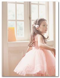 Wholesale Children Korean Dresses - Girls princess dress Fashion korean children Lace tulle Sleeveless Dress kids tutu party dress beige pink 3081