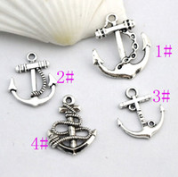 Wholesale Silver Anchor Charm Necklace - Cute Anchor Charms Pendants Jewelry charm 100pcs lot 4Styles Classic Antiqued Silver Necklace DIY L002 L003 L007 L008
