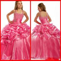 kızlar elbise satmak elbise toptan satış-En çok satan Güzel Balo Sıcak pembe Çiçek Kız Elbise Spagetti kızın Pageant elbise Büyüleyici Parti Elbise