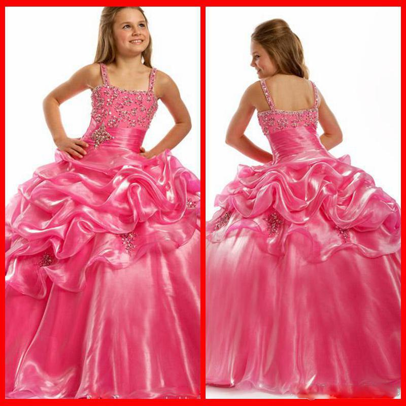 Meistverkaufte schöne Ballkleid Pink Blumenmädchen Kleider Spaghetti Mädchen Festzug Kleider Charming Party Dress